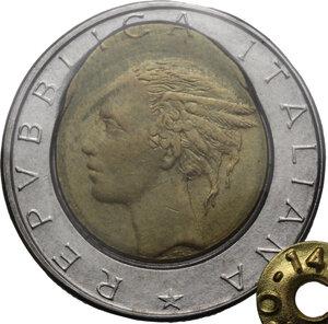 obverse: 500 lire 1987 fuoriuscita del bronzo su tondello esterno