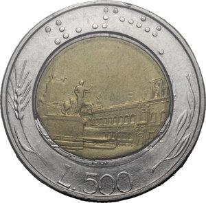 reverse: 500 lire 1987 fuoriuscita del bronzo su tondello esterno