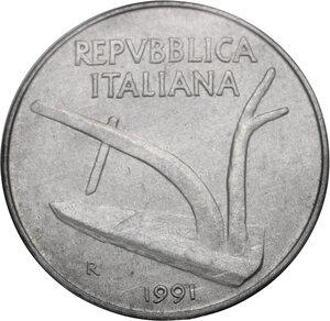 obverse: 10 Lire 1991 asse ruotato