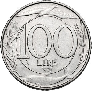reverse: 100 Lire 1997 asse ruotato di 90°