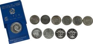 obverse: Lotto di undici (11) monete in argento: 5000 Lire 1999 (Solidarietà), 2000 Lire 1998 (Fede), 500 Lire 1961 (Centenario), 500 Lire 1965 (Dante), 500 Lire Caravelle 1964 (3) e 1966, 500 Lire 1981 Virgilio (in scatolina IPZS), 500 Lire 1991 (Ponte Milvio), 500 Lire 1991 (Flora e fauna)