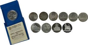 reverse: Lotto di undici (11) monete in argento: 5000 Lire 1999 (Solidarietà), 2000 Lire 1998 (Fede), 500 Lire 1961 (Centenario), 500 Lire 1965 (Dante), 500 Lire Caravelle 1964 (3) e 1966, 500 Lire 1981 Virgilio (in scatolina IPZS), 500 Lire 1991 (Ponte Milvio), 500 Lire 1991 (Flora e fauna)