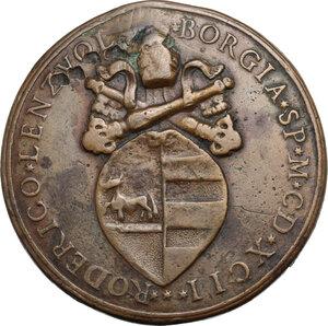 reverse: Alessandro VI (1492-1503), Rodrigo de Borja.. Medaglia di restituzione 1492 (1664 circa)