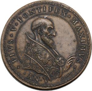 obverse: Pio V (1566 - 1572), Antonio Michele Ghislieri.. Medaglia A. V, per la Battaglia di Lepanto