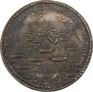 reverse: Pio V (1566 - 1572), Antonio Michele Ghislieri.. Medaglia A. V, per la Battaglia di Lepanto