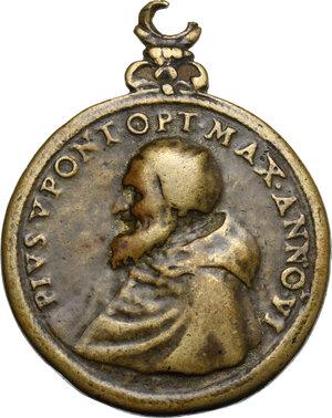 obverse: Pio V (1566 - 1572), Antonio Michele Ghislieri.. Medaglia 1571. Consacrazione della chiesa di Santa Croce a Boscomarengo