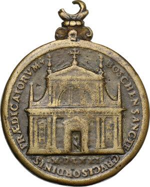 reverse: Pio V (1566 - 1572), Antonio Michele Ghislieri.. Medaglia 1571. Consacrazione della chiesa di Santa Croce a Boscomarengo