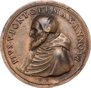 obverse: Pio V (1566 - 1572), Antonio Michele Ghislieri.. Placchetta unifacie a sbalzo (1571)