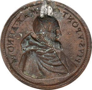 reverse: Pio V (1566 - 1572), Antonio Michele Ghislieri.. Placchetta unifacie a sbalzo (1571)