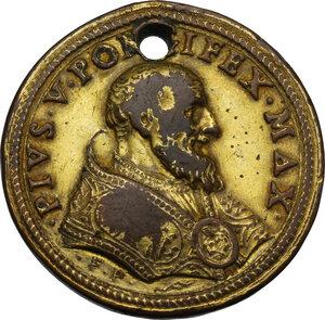 obverse: Pio V (1566 - 1572), Antonio Michele Ghislieri.. Medaglia (1570) per la riforma del clero