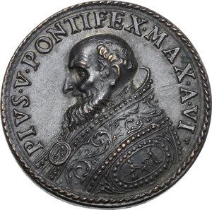 obverse: Pio V (1566 - 1572), Antonio Michele Ghislieri.. Medaglia