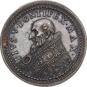 obverse: Pio V (1566 - 1572), Antonio Michele Ghislieri.. Medaglia postuma per la costruzione della tomba del Pontefice