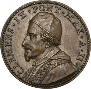 obverse: Clemente IX (1667-1669), Giulio Girolamo Rospigliosi.. Medaglia A. II, per la Pace di Aquisgrana