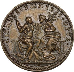reverse: Clemente IX (1667-1669), Giulio Girolamo Rospigliosi.. Medaglia A. II, per la Pace di Aquisgrana