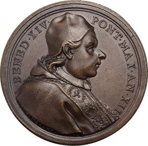 obverse: Benedetto XIV (1740-1758), Prospero Lambertini.. Medaglia annuale, A. XII