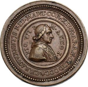 obverse: Pio VII (1800-1823), Barnaba Chiaramonti. Medaglia per l arrivo del pontefice a Roma dopo l elezione
