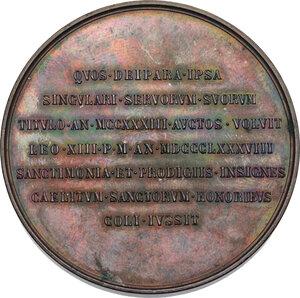 reverse: Leone XIII (1878-1903), Gioacchino Pecci.. Medaglia straordinaria 1888 per la canonizzazione dei fondatori dell Ordine dei Servi della Beata Vergina Maria (Serviti)
