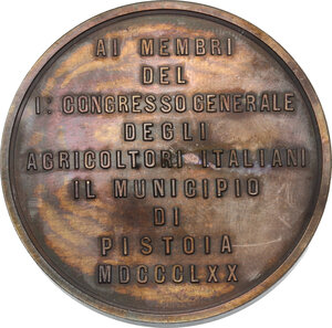 reverse: Medaglia 1870 Municipio di Pistoia ai membri del I Congresso Generale degli agricoltori italiani