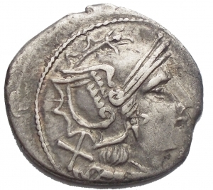 obverse: Roman Republic - Pentagram series, Denarius, Uncertain mint, 206-200 BC. AR (g 2,82; mm 19,57). Helmeted head of Roma r.; denomination mark behind, Rv. The Dioscuri, each holding spear, on horseback r.; pentagram below, ROMA in exergue. Crawford 129/1; RSC 20w; Sydenham 205. a Very Fine
