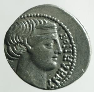 obverse: Repubblica Romana.Scribonia L. Scribonius Libo (62 a.C.) . Denario .D\Testa diademata del Buon Evento a destra . /R Pozzo scriboniano B. 8; Cr. 416/1b (AG g. 3,90) BB+.Metallo lucente.