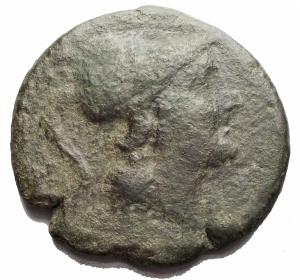 obverse: Mondo Greco -Apulia, Teate.Quincunx, ca. 217 a.C.D/ Testa di Athena a destra.R/ TIATI. Civetta stante a destra, con la testa di fronte. In esergo: cinque globetti.SNG ANS 742.AG.g 14,86.mm 27,47.R.BB-qBB. Patina verde