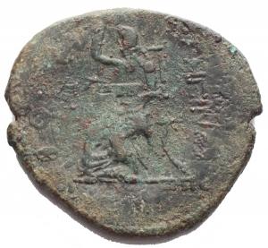 reverse: Mondo Greco -Bruttium, Rhegium.Pentonkion, 270-203 a.C.D/ Testa femminile gianiforme.R/ . Esculapio seduto a sinistra tiene scettro.AE.g 9,48.mm 28,3 x 27,5. BB. R. Patina verde. Tracce di ribattitura