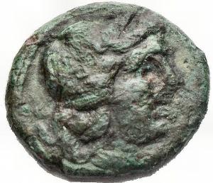 obverse: Mondo Greco -Bruttium, Rhegium.AE. 215-150 aC. d/ Apollo a ds r/ Dioscuri a ds. gr 2,15. HN Italy 2563. Raro