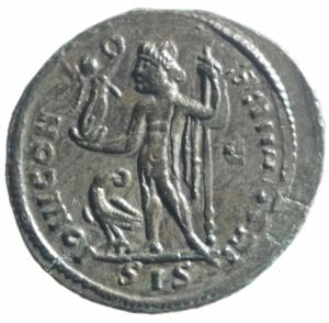 reverse: Impero Romano. Licinio I. 308-324 d.C. Follis. AE. Siscia. D/ IMP LICINIVS PF AVG. Testa laureata a destra. R/ IOVI CONSERVATORI. Jupiter stante a sinistra tiene Vittoria e scettro. Ai suoi piedi aquila. Nel campo a destra A. In esergo: SIS. Peso gr. 4,55. SPL+. R.