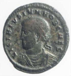 obverse: Impero Romano. Licinio II. 317-323 d.C. Follis. D/ LICINIVS IVN NOB CA Busto laureato verso sinistra. R/ CAESARVM NOSTRORVM VOT V In corona d alloro. Peso 3,05 gr. Diametro 20,49 mm. qSPL.RIC 119. Patina verde Scura.