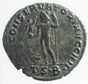 reverse: Impero Romano. Costantino I. 306-337 d.C. Follis ridotto. Ae. D/ CONSTANTINVS P F AVG Testa laureata verso destra. R/ IOVI CONSERVATORI Giove con scettro regge il globo, ai suoi piedi una corona, nel campo B. Zecca di Tessalonica TS E. RIC.VI 61 b. Peso 3,550 gr. Diametro 23,32 mm. BB+