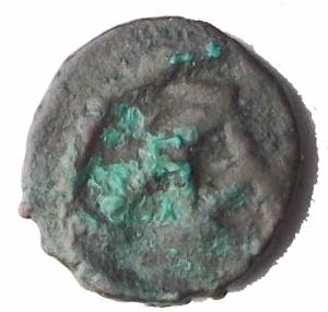 Impero Bizantino-Giustiniano I. 527-565 d.C.Nummo.AE.Cartagine.D/ Busto diademato, drappeggiato e corazzato a destra.R/ Grande A.D.O. 309.Pesogr. 0.59. Diametromm. 9.BB+.R.Intonso