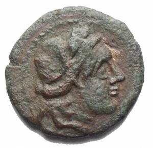 obverse: Mondo Greco - Sicilia. Aitna.Periodo romano. ca 210 a.C.Hexas Ae.D/ Persefone a ds. R/ AITNAIWN cornucopia. g 2,6. mm 16,76. BMC 7, Calciati III 10, SNG ANS 1162 ff.BB.