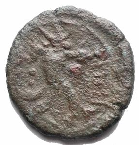 reverse: Mondo Greco - Sicilia. Aitna.Periodo romano. ca 210 a.C.Hexas Ae.D/ Persefone a ds. R/ AITNAIWN cornucopia. g 2,6. mm 16,76. BMC 7, Calciati III 10, SNG ANS 1162 ff.BB.