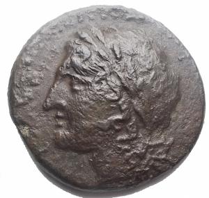 obverse: Mondo Greco - Akragas. 3 Sec ac. AE. d/ Apollo a sn r/ Aquila stante ad ali aperte su fulmine volta a sn. gr 10,06. mm 25,15. BB. R