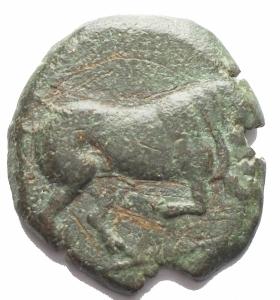 obverse: Mondo Greco - Apulia. Arpi.Ca 275-250 a.C.AE 18,56 x 20,33 mm.D/ Toro cozzante a destra. R/ Cavallo al galoppo a destra. 7.64 gr.HN Italy 645.BB+. Patina verde