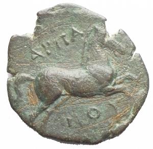 reverse: Mondo Greco - Apulia. Arpi.Ca 275-250 a.C.AE 18,56 x 20,33 mm.D/ Toro cozzante a destra. R/ Cavallo al galoppo a destra. 7.64 gr.HN Italy 645.BB+. Patina verde