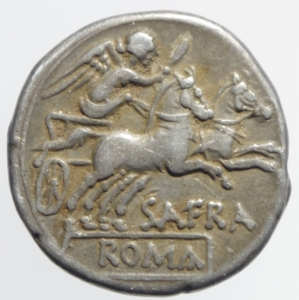 reverse: Repubblica Romana. Gens Afrania. Spurius Afranius. 150 a.C. Denario. AR, Roma, (RRC), 172-151 a.C. (BMCRR), D/ Testa elmata di Roma verso destra; dietro X, R/ Vittoria su biga verso destra, tiene le redini ed un frustino; sotto SAFRA; in ex. ROMA in cornice lineare. Peso 3,90 gr. Diametro 18,94 mm. C 206/1; BMCRR Roma 670-671; B. Afrania 1; Sydenham 388; Catalli 2001, 266. BB+. Leggera patina.