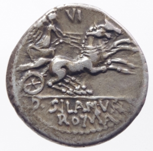 reverse: Repubblica Romana. Gens Junia. D. Iunius Silanus L.f. 91 a.C. Denario. AG. D/ Testa elmata di Roma a destra, dietro O. R/ Vittoria su biga a destra; tiene un ramo di palma e le redini nella mano sinistra, un frustino nella destra. In esergo, DSILANVSLF/ROMA. Cr. 337/3. B. Junia 15. Syd. 646. Peso gr. 4,05. Diametro mm. 19,00. SPL\qSPL