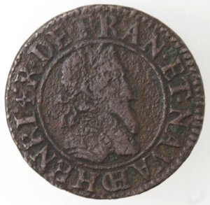 obverse: Francia. Chalons Sur Marne. Henry IV. 1589-161. Doppio Tornese 1592. Ae.