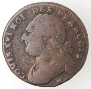 obverse: Francia. Luigi XVI. 1774-1793. 12 denari 1792 M. Ae.