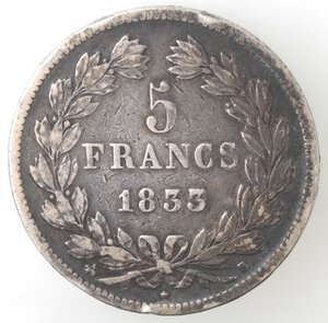 reverse: Francia. Luigi Filippo I. 1830-1848. 5 Franchi 1833. Ag.