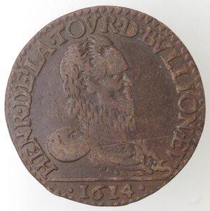 obverse: Francia. Sedan. Henry de la Tour. 1591-1623. Doppio Liard 1614. Ae.