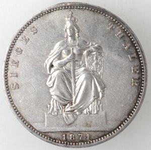 reverse: Germania Prussia. Guglielmo I. 1861-1888. Tallero 1871. Ag.