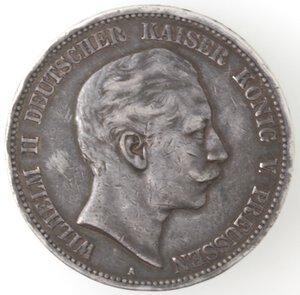 obverse: Germania Prussia. Guglielmo II. 1888-1918. 5 Marchi 1903 A. Ag.