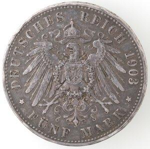 reverse: Germania Prussia. Guglielmo II. 1888-1918. 5 Marchi 1903 A. Ag.