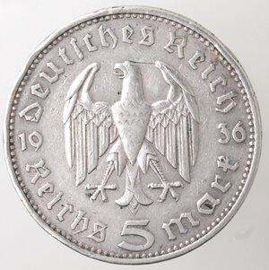 reverse: Germania. Terzo Reich. 1933-1945. 5 Marchi 1936. Ag.