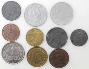 obverse: Germania. Lotto di 10 monete Reichmark e Reich Pfenning. Al-Ni-Ae.