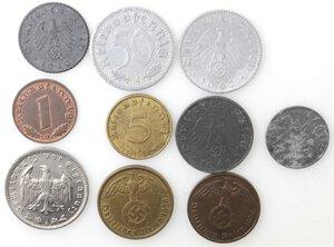 reverse: Germania. Lotto di 10 monete Reichmark e Reich Pfenning. Al-Ni-Ae.