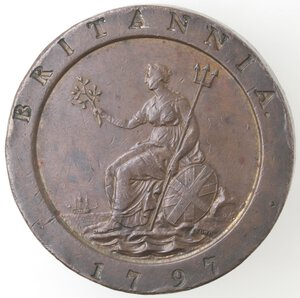 reverse: Gran Bretagna. Giorgio III. 1760-1820.Doppio Penny 1797.Ae.