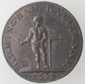 reverse: Gran Bretagna. Warwickshire. Birmingham. Halfpenny Token 1793. Ae.